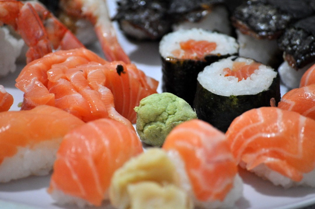 stock photos free  of Sushi salmon table with wasabi