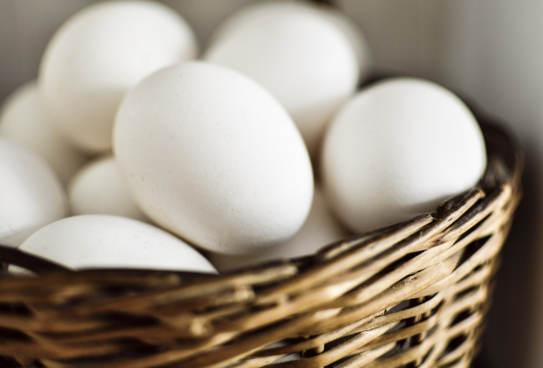 stock photos free  of wicker basket of white eggs