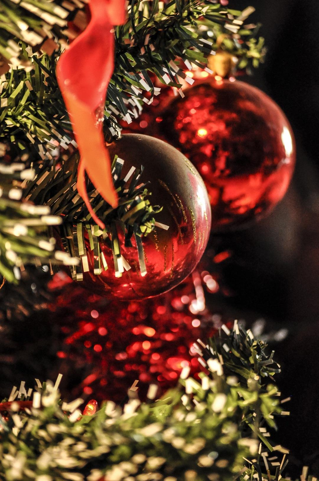 stock photos free  of two balls christmas ornaments on christmas tree