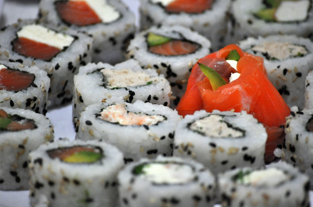 stock photos free  of Raw Salmon heisha  Sushi table with avocado