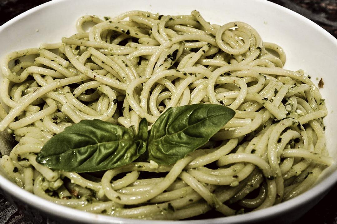 stock photos free  of spaghetti pasta dish with basil pesto