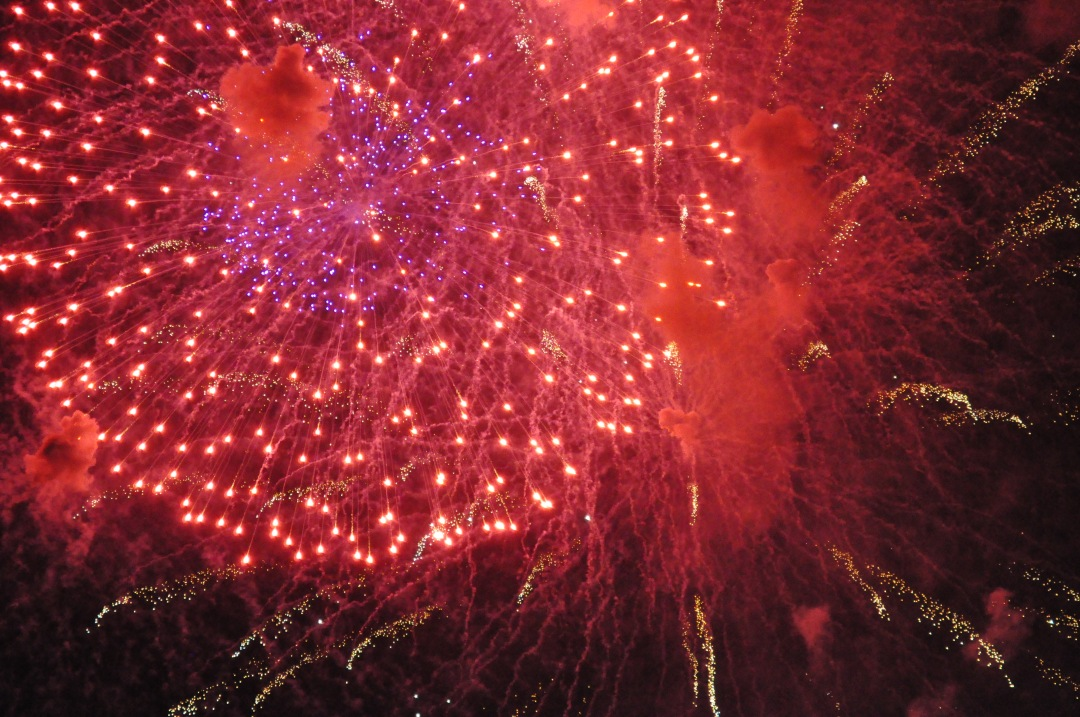 stock photos free  of Red Fireworks Display