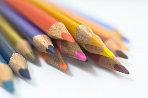 Colorful wooden pencils isolated Stock photo