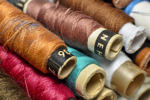 free for commercial use Sewing threads multicolored background closeup images