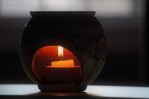 Aroma lamp with candle  fire
