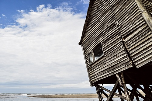 abandoned house on a beach in South America