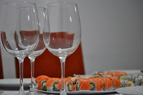 free for commercial use salmon sushi with wine glasses images