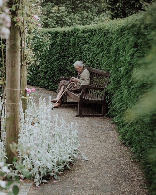 photo Cute old woman scrolling free for commercial use images