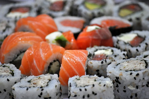 free for commercial use Large Group of salmon Sushi Variedad images