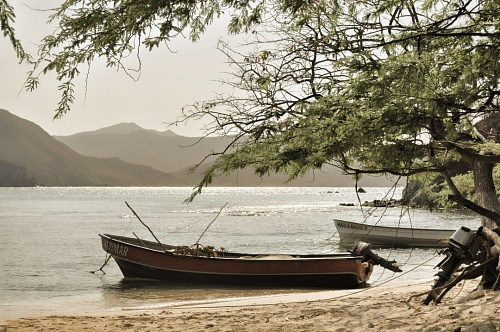 boat on beach Tayrona Caribean Colombia