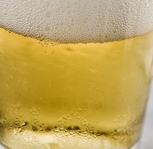 close-up texture of a cold beer glass