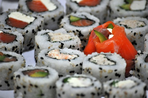 free for commercial use Raw Salmon heisha  Sushi table with avocado images